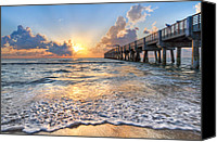 Florida Bridge Canvas Prints - Sunrise Glow Canvas Print by Debra and Dave Vanderlaan