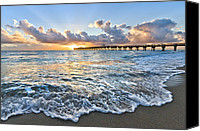 Florida Bridge Canvas Prints - Sunrise Lace Canvas Print by Debra and Dave Vanderlaan