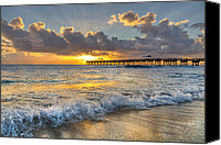 Florida Bridge Canvas Prints - Sunrise Lights Canvas Print by Debra and Dave Vanderlaan