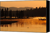 Yellowstone Park Canvas Prints - Sunrise Near Fishing Bridge in Yellowstone Canvas Print by Bruce Gourley