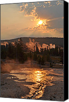 Yellowstone Park Canvas Prints - Sunrise Near Yellowstones Punch Bowl Spring Canvas Print by Bruce Gourley