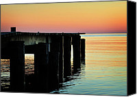 March Canvas Prints - Sunrise Over Chesapeake Bay Canvas Print by Rebecca Sherman