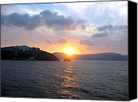 Thira Canvas Prints - Sunrise over Santorini Canvas Print by Keiko Richter