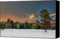 Winter Canvas Prints - Sunrise Over Sawtooth Mountains Idaho Canvas Print by Knowles Photography