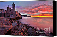 Sitges Canvas Prints - Sunrise over Sitges Canvas Print by Richard Fairless