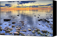 Door County Canvas Prints - Sunrise over the Rocks Canvas Print by Scott Norris