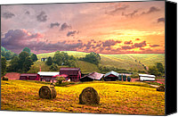 Fences Canvas Prints - Sunrise Pastures Canvas Print by Debra and Dave Vanderlaan