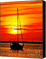 Roanoke Island Canvas Prints - Sunrise Sailing Canvas Print by Nick Zelinsky
