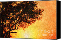 Dramatic Light Mixed Media Canvas Prints - Sunrise Silhouette Canvas Print by Andee Photography