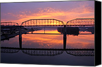 Riverwalk Canvas Prints - Sunrise Walnut Street Bridge 2 Canvas Print by Tom and Pat Cory