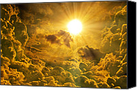 Dramatic Light Mixed Media Canvas Prints - Sunrise With Clouds Canvas Print by Nattapon Wongwean
