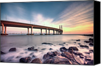India Canvas Prints - Sunset - Sea Link Canvas Print by Brendon Fernandes