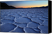 Death Valley National Park Canvas Prints - Sunset at Badwater in Death Valley Canvas Print by Pierre Leclerc