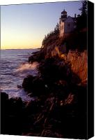 Brent L Ander Canvas Prints - Sunset at Bass Harbor Lighthouse Canvas Print by Brent Ander