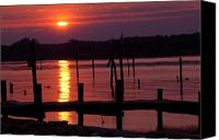 Pilings Canvas Prints - Sunset at Colonial Beach Canvas Print by Clayton Bruster