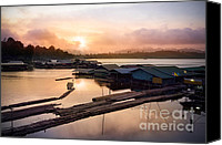 Dam Canvas Prints - Sunset At Fisherman Villages  Canvas Print by Setsiri Silapasuwanchai