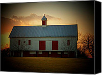 White Barns Canvas Prints - Sunset Barn Canvas Print by Joyce L Kimble