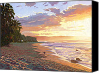 Surfing Canvas Prints - Sunset Beach - Oahu Canvas Print by Steve Simon