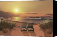 Chairs Canvas Prints - Sunset Beach Canvas Print by Corey Ford