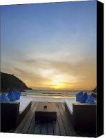 Pillow Canvas Prints - Sunset Beach Canvas Print by Setsiri Silapasuwanchai