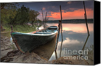 Danube Canvas Prints - Sunset Boat Canvas Print by Evgeni Dinev