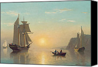 Setting Painting Canvas Prints - Sunset Calm in the Bay of Fundy Canvas Print by William Bradford
