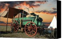 Cowboy Photo Canvas Prints - Sunset Chuckwagon Canvas Print by Robert Anschutz
