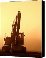 Building Canvas Prints - Sunset Excavator Canvas Print by Olivier Le Queinec