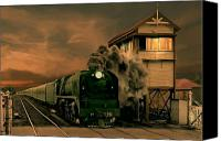 Signalbox Canvas Prints - Sunset Express Canvas Print by Steven Agius