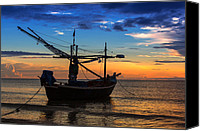 Huahin Canvas Prints - Sunset Fisherman Boat Huahin Thailand Canvas Print by Arthit Somsakul