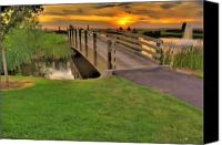 Sunset Canvas Prints - Sunset Foot Bridge Canvas Print by Dale Stillman