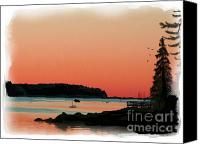 Harbor Art Painting Canvas Prints - Sunset Glow harbor Canvas Print by Earl Jackson