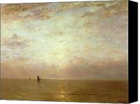 Setting Painting Canvas Prints - Sunset Canvas Print by Hendrik William Mesdag