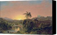 Church; Frederic Edwin (1826-1900) Canvas Prints - Sunset in Equador Canvas Print by Frederic Edwin Church