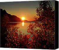 Sunset Canvas Prints - Sunset In Ersfjordbotn Canvas Print by John Hemmingsen
