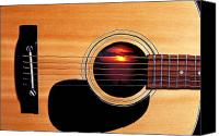 Wooden Tapestries Textiles Canvas Prints - Sunset in guitar Canvas Print by Garry Gay