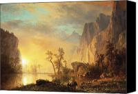 Setting Painting Canvas Prints - Sunset in the Rockies Canvas Print by Albert Bierstadt