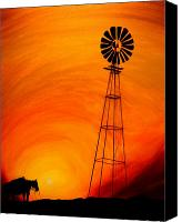 Cowboy Art Painting Canvas Prints - Sunset Canvas Print by J Vincent Scarpace