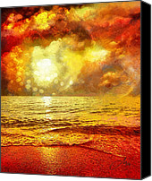 Ocean Digital Art Canvas Prints - Sunset Canvas Print by Mo T