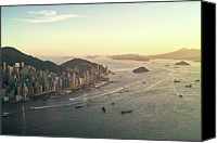 Waterfront Canvas Prints - Sunset Of Hong Kong Victoria Harbor Canvas Print by Jimmy LL Tsang