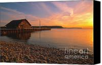 Door County Canvas Prints - Sunset on Andersons Dock - Door County Canvas Print by Sandra Bronstein