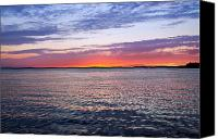 Stretched Canvas Prints - Sunset On Barnegat Bay I - Jersey Shore Canvas Print by Angie McKenzie
