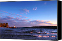 Photo-realism Canvas Prints - Sunset on Cayuga Lake Ithaca Canvas Print by Mingqi Ge