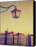 Wooden Post Canvas Prints - Sunset On Lagoo In Venice Canvas Print by Marco Misuri