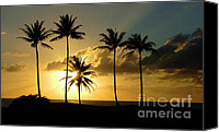 Palm Trees Pastels Canvas Prints - Sunset On Molokai Canvas Print by Bob Christopher