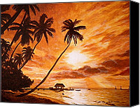 Tropical Beach Painting Canvas Prints - Sunset on Paradise Cove Canvas Print by Al  Molina
