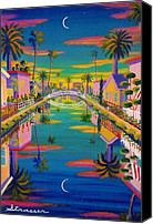 Fun Houses Canvas Prints - Sunset on Retro Canal Canvas Print by Frank Strasser