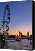 Houses Canvas Prints - Sunset on river Thames Canvas Print by Jasna Buncic