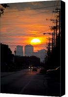 Setting Canvas Prints - Sunset on the City Canvas Print by Carolyn Marshall