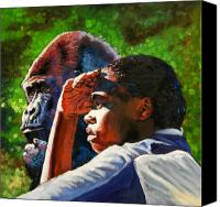 Gorilla Painting Canvas Prints - Sunset On The Myth Canvas Print by John Lautermilch